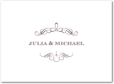 Vintage Nuptials Letterpress Thank You Cards LP Burgundy