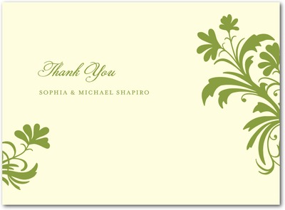 Vintage Pattern Letterpress Thank You Cards LP Celery