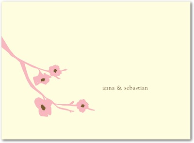 Modern Blossoms Letterpress Thank You Cards Petal Pink