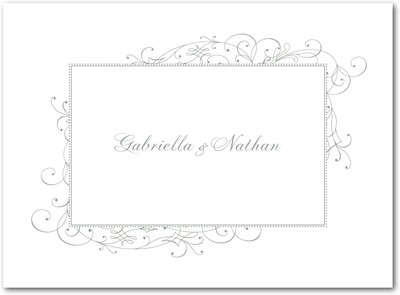 Stately Scroll Letterpress Thank You Cards LP Charcoal
