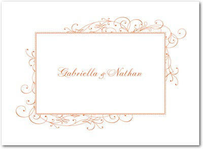 Stately Scroll Letterpress Thank You Cards LP Mandarin