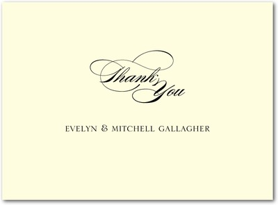 Sentimental Script Thermography Thank You Cards Black