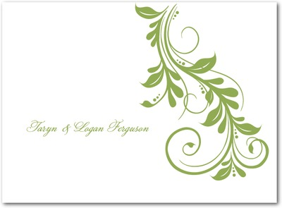 Elegant Impression Thermography Thank You Cards TH Celery
