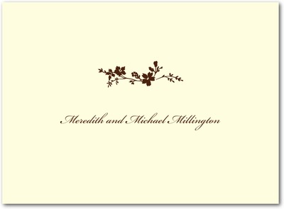 Wildflower Branch Thermography Thank You Cards Brown