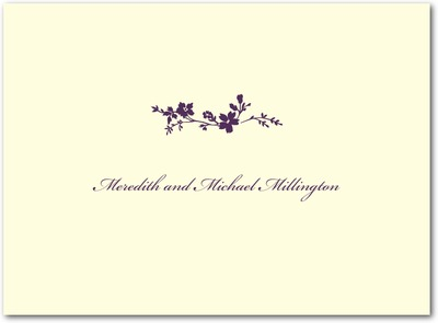 Wildflower Branch Thermography Thank You Cards Plum