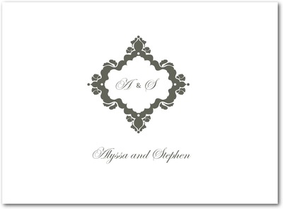 Fanciful Monogram Thermography Thank You Cards TH Charcoal
