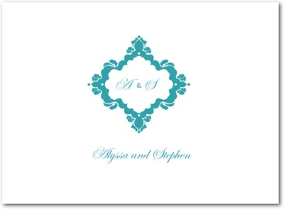 Fanciful Monogram Thermography Thank You Cards TH Robins Egg