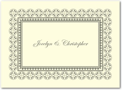 Medallion Border Thermography Thank You Cards TH Charcoal