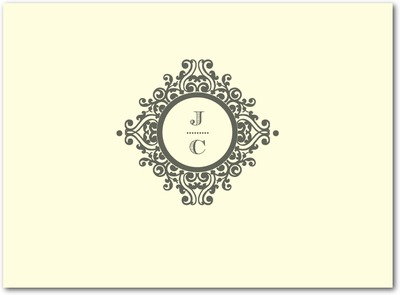 Ornate Initials Thermography Thank You Cards TH Charcoal