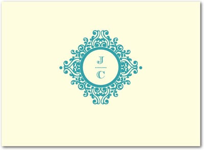 Ornate Initials Thermography Thank You Cards TH Robins Egg