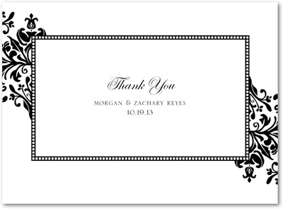 Diagonal Damask Thermography Thank You Cards Black