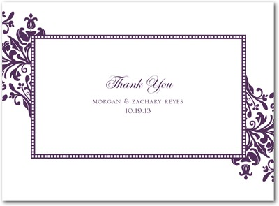 Diagonal Damask Thermography Thank You Cards TH Plum