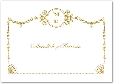 Draped Elegance Thermography Thank You Cards TH Gold