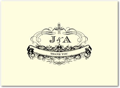 Monogram Motto Thermography Thank You Cards Black