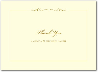 Winged Monogram Thermography Thank You Cards Gold