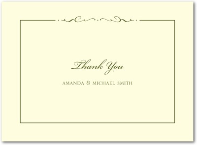 Winged Monogram Thermography Thank You Cards Woodland Green