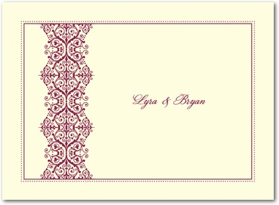 Royal Monogram Thermography Thank You Cards TH Burgundy
