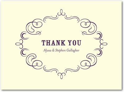 Royal Filigree Thermography Thank You Cards TH Plum