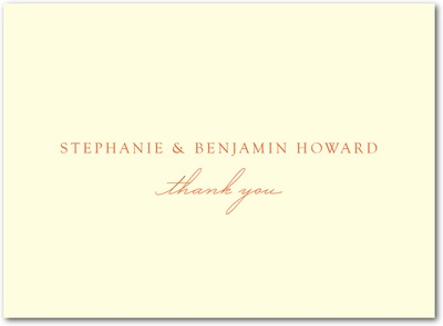 Sweet Destiny Thermography Thank You Cards TH Mandarin