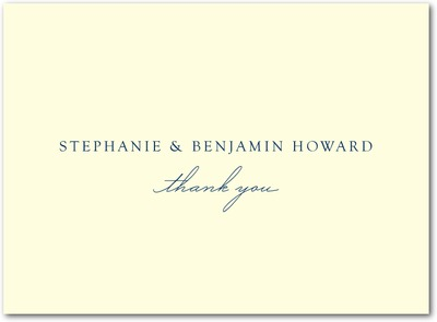 Sweet Destiny Thermography Thank You Cards TH Navy
