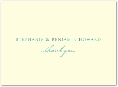 Sweet Destiny Thermography Thank You Cards TH Robins Egg