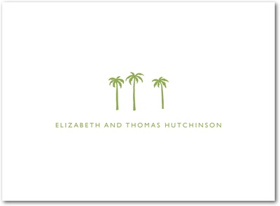 Seaside Palms Thermography Thank You Cards Celery