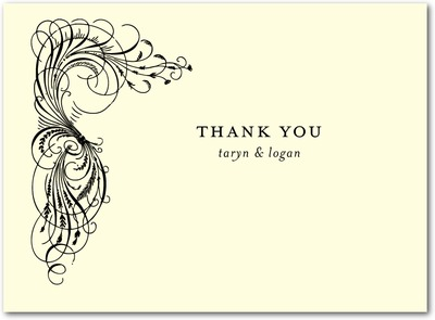 Estate Affair Thermography Thank You Cards Black