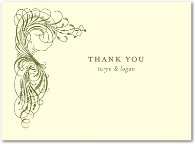 Estate Affair Thermography Thank You Cards TH Woodland Green
