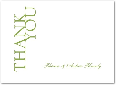 Us Together Thermography Thank You Cards TH Celery