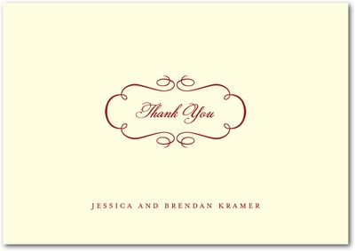 Sophisticated Swirls Signature Ecru Thank You Cards Rich Red