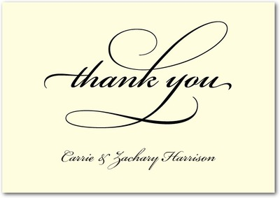 Timeless Calligraphy Signature Ecru Thank You Cards Black Russian