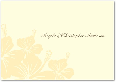 Hibiscus Bouquet Signature Ecru Thank You Cards Bisque