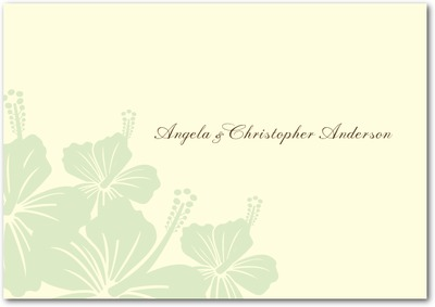 Hibiscus Bouquet Signature Ecru Thank You Cards Sage