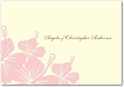 Hibiscus Bouquet Signature Ecru Thank You Cards Soft Pink