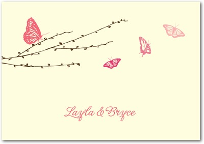 Butterfly Love Signature Ecru Thank You Cards Medium Pink