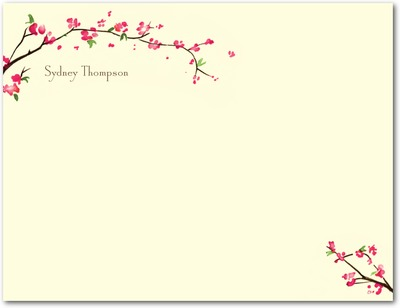 Cherry Showers Signature Ecru Thank You Cards Emerald