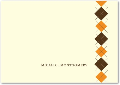 Elegant Argyle Signature Ecru Thank You Cards Pumpkin