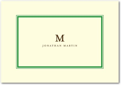 Sleek Monogram Signature Ecru Thank You Cards Hunter Green