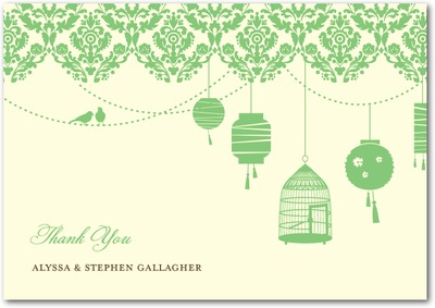 Sweet Lanterns Signature Ecru Thank You Cards Melon