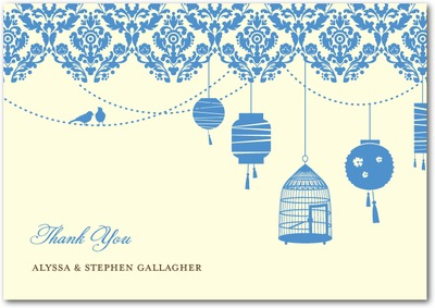Sweet Lanterns Signature Ecru Thank You Cards Sea Blue