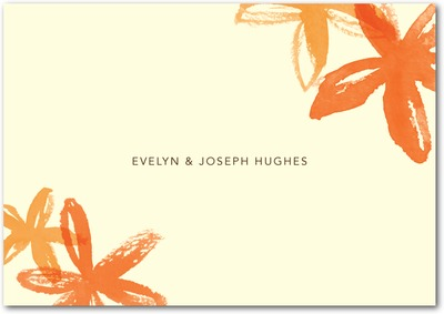 Beach Flowers Signature Ecru Thank You Cards Autumn Orange