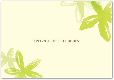 Beach Flowers Signature Ecru Thank You Cards Bright Green