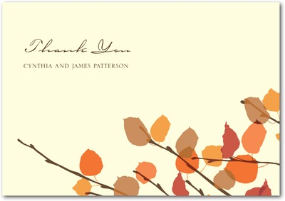 Earthy Leaves Signature Ecru Thank You Cards Pumpkin