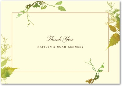Rustic Print Signature Ecru Thank You Cards Evergreen