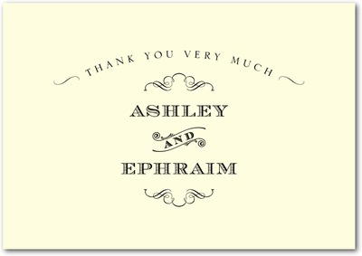 Antique Chic Signature Ecru Thank You Cards Black