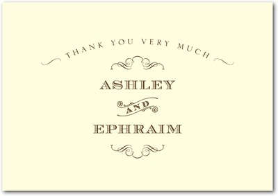 Antique Chic Signature Ecru Thank You Cards Chocolate