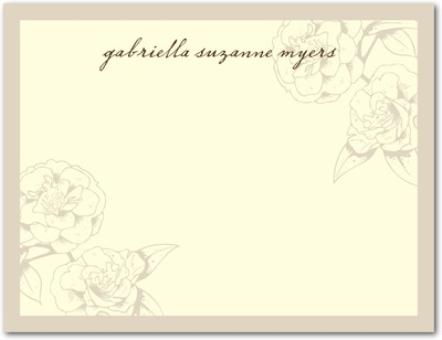 Garden Rose Signature Ecru Thank You Cards Khaki