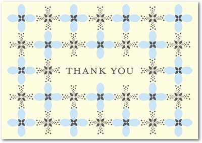 Fancy Plaid Signature Ecru Thank You Cards Stream