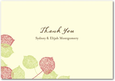 Lacy Leaves Signature Ecru Thank You Cards Mauve