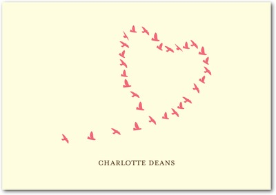 Love Birds Signature Ecru Thank You Cards Medium Pink